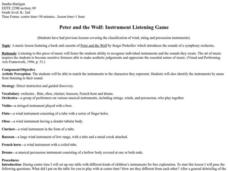 Peter And The Wolf: Instrument Listening Game Lesson Plan