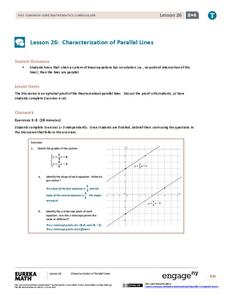 Characteristics of Parallel Lines Assessment