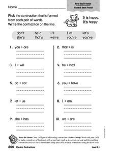 Phonics: Contractions Worksheet