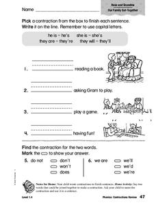 Phonics: Contractions Review Worksheet