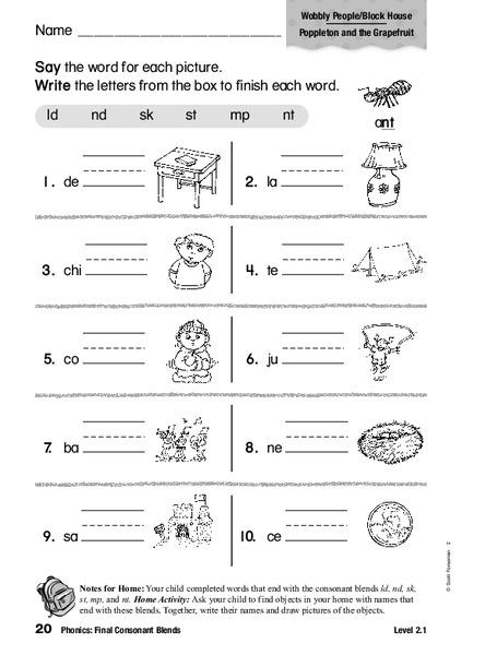 Phonics: Final Consonant Blends Worksheet for 1st - 2nd ...
