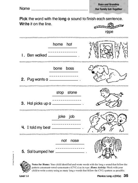 Phonics Long O Worksheet For 1st 2nd Grade Lesson Planet