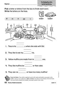 Phonics: Medial Consonants Worksheet
