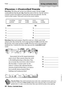 Phonics: R-Controlled Vowels Worksheet