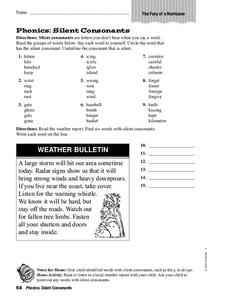Phonics: Silent Consonants Worksheet