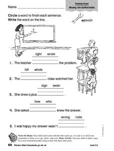 Phonics: Silent Consonants: gn, wh, wr Worksheet