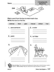 Phonics: Vowel Digraphs ue Worksheet