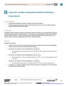 Another Computational Model of Solving a Linear System Lesson Plan