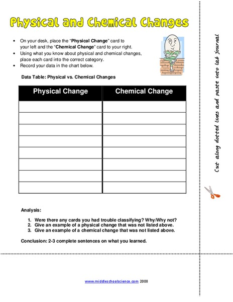 Physical And Chemical Changes Worksheet For 5th 8th