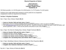 Physical Properties of Matter Lesson Plan