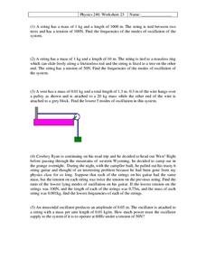 Physics 240: Harmonic Waves Worksheet