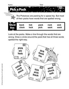 Pick a Pack Worksheet