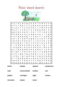Picnic Word Search Worksheet