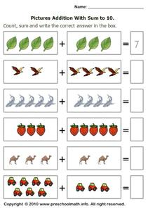 Picture Addition with Sum to 10 Worksheet