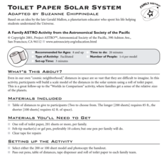 Toilet Paper Solar System Activities & Project