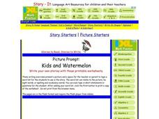 Picture Prompt:  Kids And Watermelon Worksheet