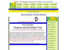 Picture Prompt: Penguins and Christmas Tree Worksheet
