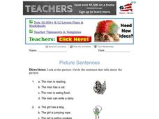 Picture Sentences Worksheet