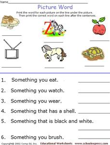 Picture Words Worksheet