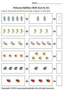 Pictures Addition With Sum to 10 Worksheet