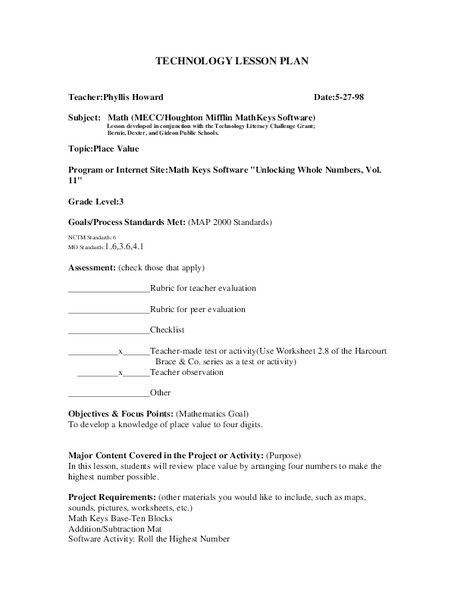 Place Value Lesson Plan for 3rd Grade   Lesson Planet