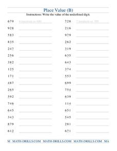 Place Value (B) Worksheet