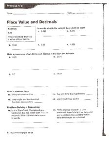 Place Value and Decimals Worksheet