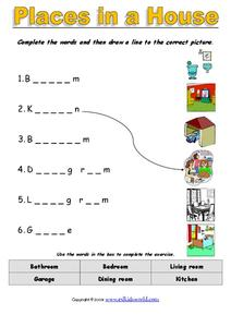 Places in a House Worksheet