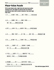 Place-Value Puzzle Worksheet
