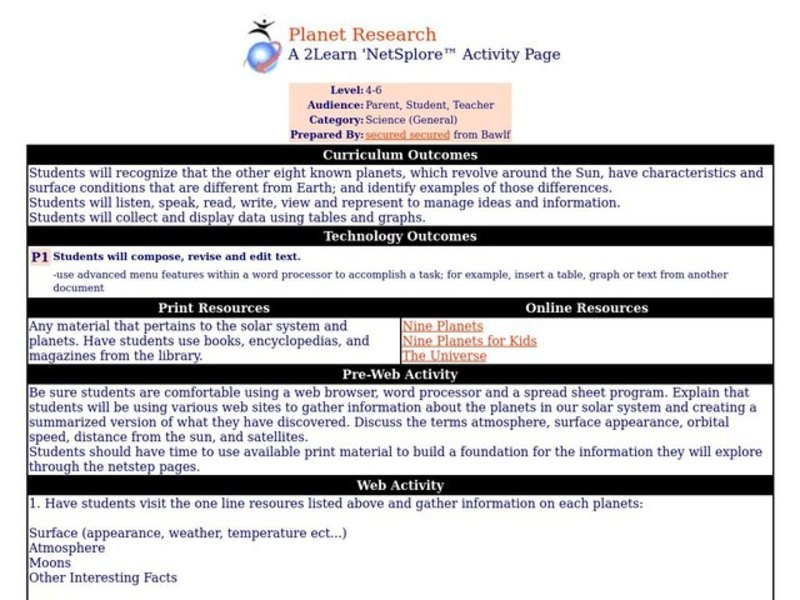 Planet Research Lesson Plan