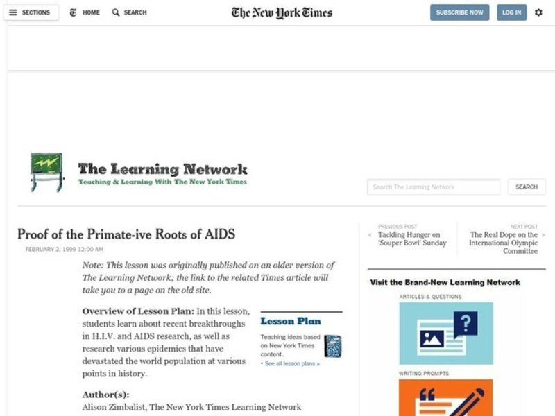 Proof of the Primate-ive Roots of AIDS Lesson Plan