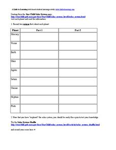 Planets Worksheet