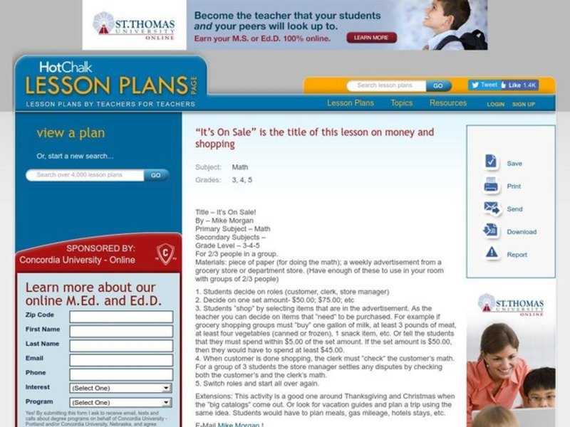 It's On Sale! Lesson Plan