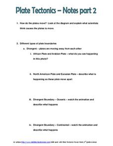 Plate Tectonics-Notes Worksheet