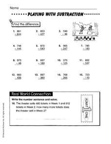 Playing With Subtraction Worksheet