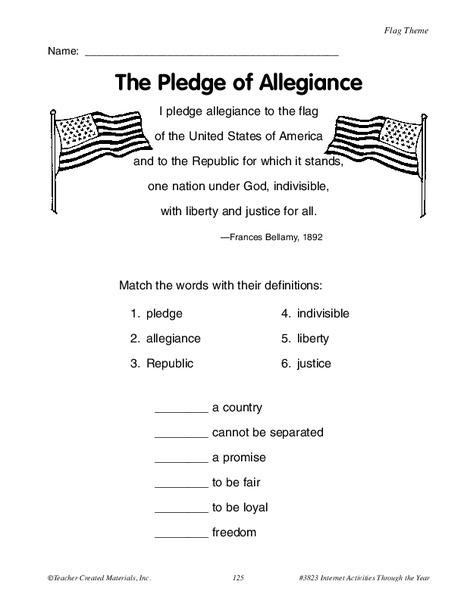 Pledge Of Allegiance Worksheet For 4th 5th Grade