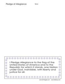 Pledge of Allegiance Worksheet