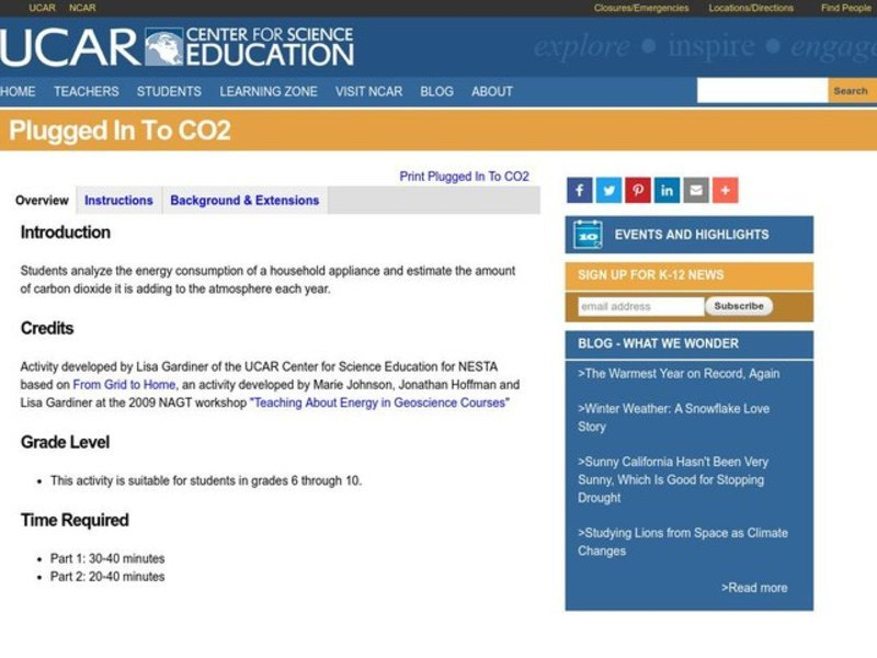 Plugged In To CO2 Lesson Plan