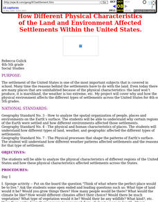 Land and Environment Affected Settlement Lesson Plan