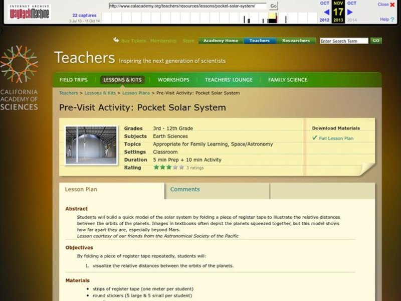 Pocket Solar System Lesson Plan