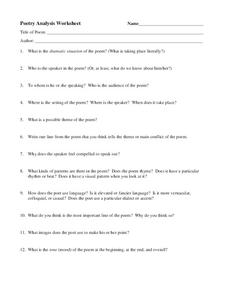 Poetry Analysis Worksheet Worksheet