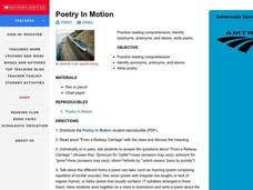 Poetry In Motion Lesson Plan