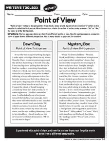 Point of View Worksheet for 6th   10th Grade   Lesson Planet