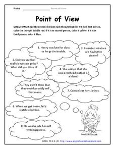 Point of View Worksheet for 3rd Grade   Lesson Planet