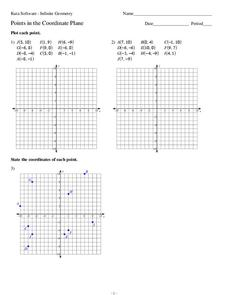 Points in the Coordinate Plane Worksheet