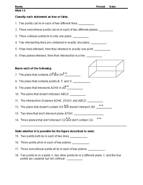 Points Lines And Planes Worksheet For 10th Grade Lesson