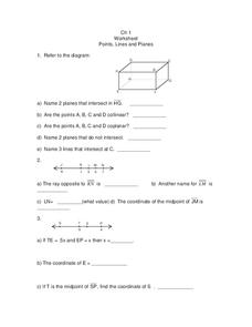 Points, Lines and Planes Worksheet