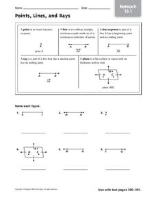 Points, Lines, and Rays Worksheet