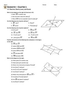 Points Lines And Planes Worksheet For 10th Grade Lesson Planet