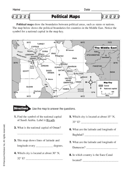 Political Maps Worksheet For 5th 6th Grade Lesson Planet